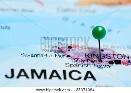 May Pen pinned on a map of Jamaica