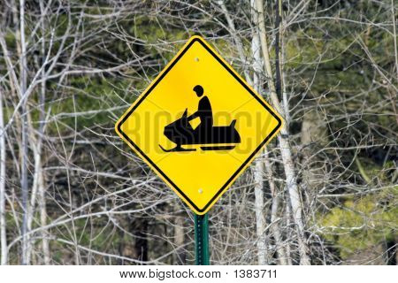 Caution Snowmobile Crossing