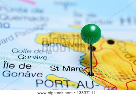 St-Marc pinned on a map of Haiti