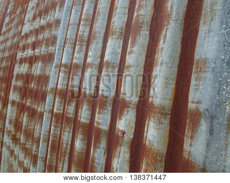 natural line pattern created by rusted corrugated metal wall of a quonset hut in rural Wisconsin