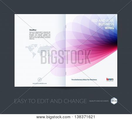 Brochure template layout, cover design annual report, magazine, flyer or booklet in A4 with red blue soft wave flower shapes for business and beauty template with beautiful overlap effect. Vector.