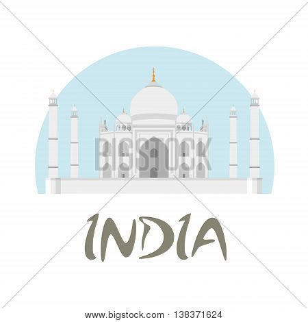 Travel India badge. Taj Mahal vector illustration with white and blue background and text India.