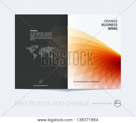 Brochure template layout, cover design annual report, magazine, flyer or booklet in A4 with orange red soft wave flower shapes for business and beauty template with beautiful overlap effect. Vector.