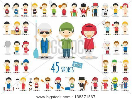 Big Set of 45 cute cartoon sport characters for kids. Funny cartoon boys. Olympics Sports vector illustrations