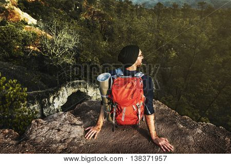Backpacker Camping Trekking Wanderlust Leisure Concept