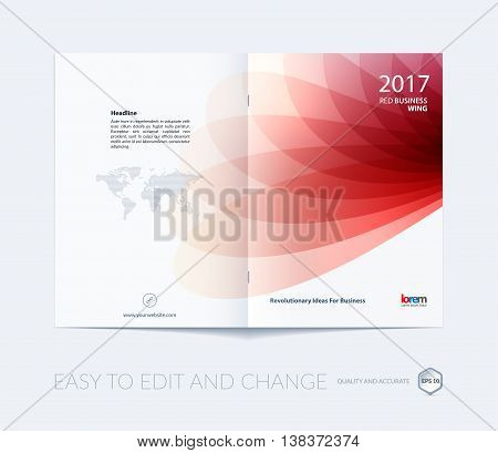 Brochure template layout, cover design annual report, magazine, flyer or booklet in A4 with red soft wave flower shapes for business and beauty template with beautiful overlap effect. Vector.