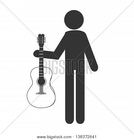 Musician holding aa acoustic guitar in pictogram design, vector illustration.