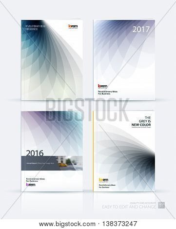 Brochure template layout, cover design annual report, magazine, flyer or booklet in A4 with grey soft wave flower shapes for business and beauty template with beautiful overlap effect. Vector set.