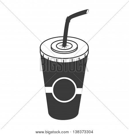 Drink on plastic cup with straw in black and white colors, vector illustration graphic.