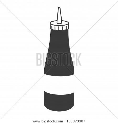 Ketchup bottle in black and white colors, isolated flat icon design.