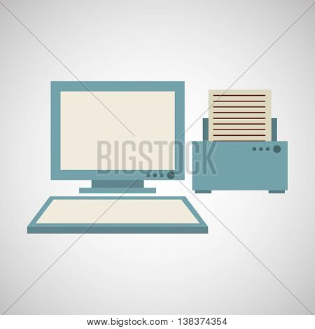 technology office information computer printer isolated, vector illustration eps10