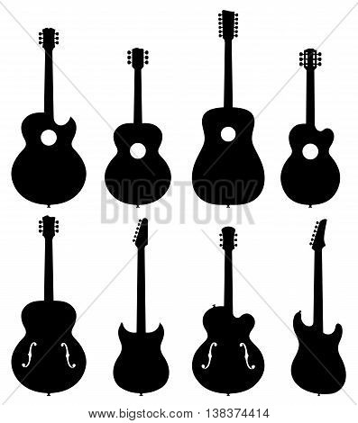 Guitar Silhouettes Set. Vector Illustration Of Various Types Of No Brand Guitar Silhouettes