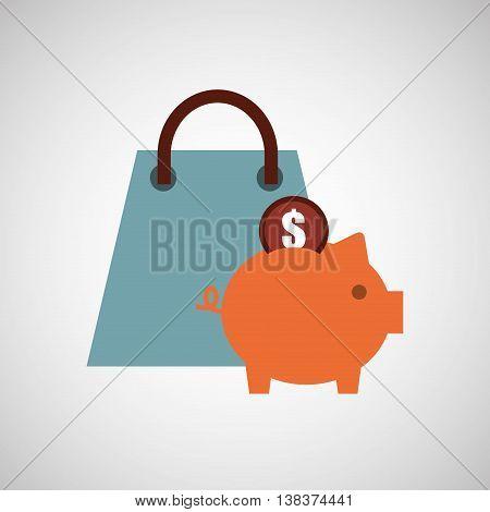 finance coin business piggy savings isolated, vector illustration eps10