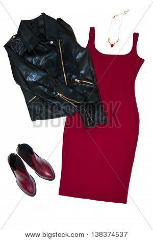 Fashion still life Women's clothing Black leather jacket red dress shoes necklace Top view