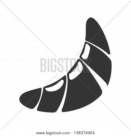 Croissant Foodstuff isolated flat icon in black and white colors, vector illustration.