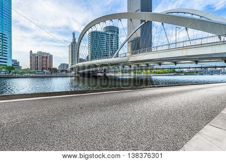 empty floor and city skyline under blue sky,tianjin china