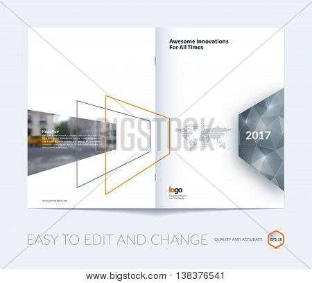 Abstract brochure template, cover design annual report, magazine, flyer, leaflet in A4 with grey shapes for business, technology in material design style with polygons overlay effect. Vector.