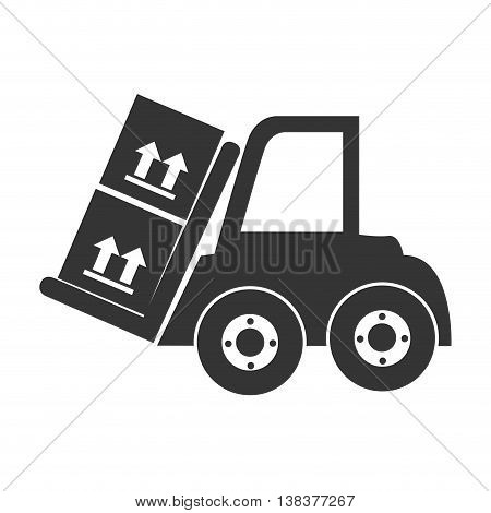 forklift with box in black and white colors, vector illustration graphic.