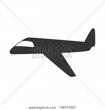Jet airplane in black and white icon, isolated flat icon vector illustration.