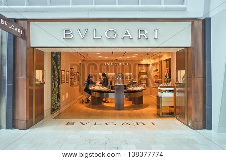 NEW YORK - APRIL 06, 2016: Bulgari store in JFK Airport. Bulgari is an Italian jewelry and luxury goods brand.
