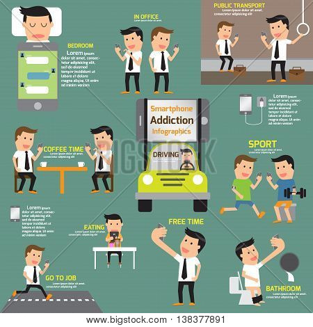 Smartphone Addiction Infographics. Various pose in using smartphone addiction concept. vector illustration.