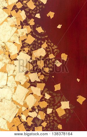 The Gold Leaf On Wood For The Background And Textures. Thai Style Pattern On Red Wall
