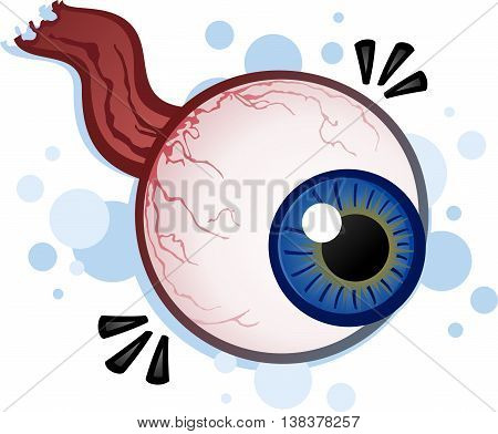 Creepy Floating Eyeball with Nerve Cartoon Illustration