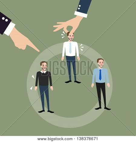 man employee hand pick replacing position rolling rotation mutation vector