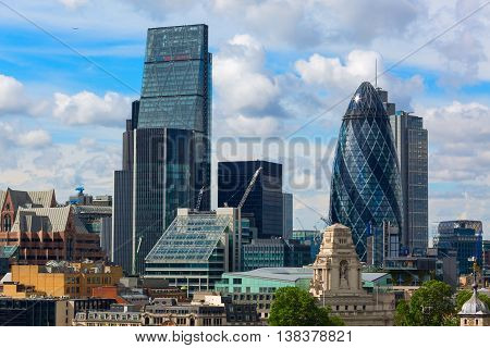 Aerial View Of The Skyscrapers Of The City Of London