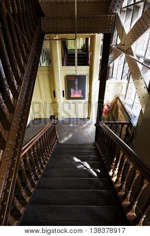 Interior View Of The Stairs Of A Pylon Of The Tower Bridge In London, Uk
