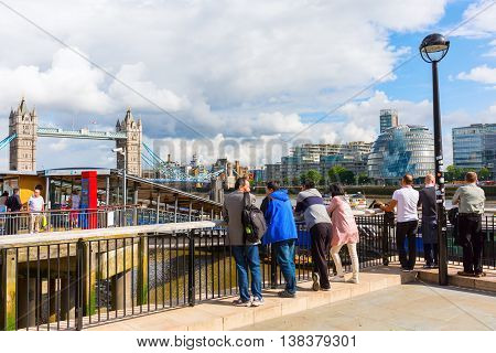 Banks Of The River Thames In London, Uk, With View To The Tower Bridge