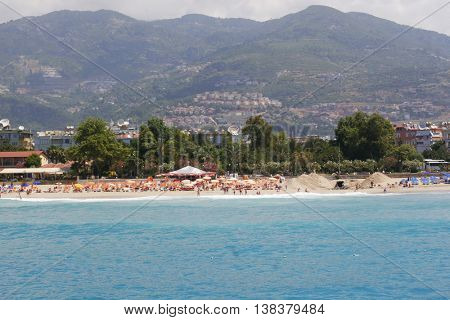 Turkey Alanya Mediterranean sea coastal panorama view of the city and the beach of Cleopatra