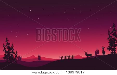 At night Christmas scenery of silhouette vector cartoon