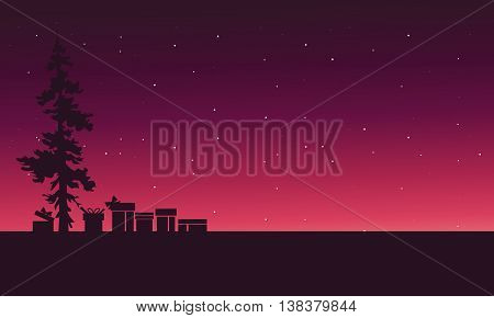 Christmas spruce and gift of silhouette scenery