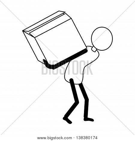 Courier loading a box isolated flat icon, vector illustration pictogram.