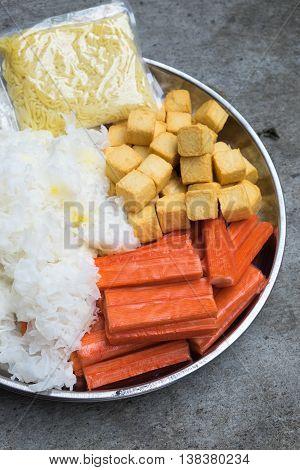 Hot Pot Ingredients tremella fish tofu and crab sticks for Sukiyaki