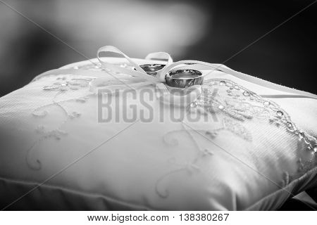 Groomsman Placing Two Wedding Rings On A Pillow