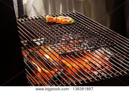 Charcoal Fire Grill, Close Up With Live Flames