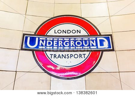 Logo Of An Underground Station In London, Uk