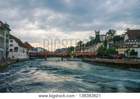Luzerne, Switzerland - August 23, 2010: Spreuer bridge (Spreuerbruecke) in the old city center of Lucerne ( Luzerne )