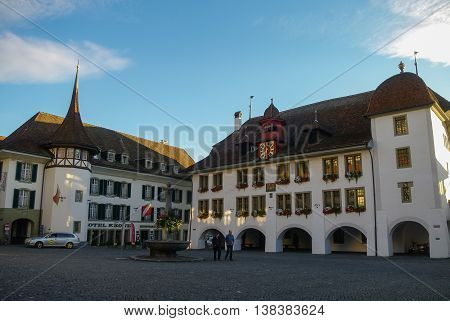 Bern, Switzerland - August 25, 2010: Rathaus Hotel in Thun Town Hall Square. Canton of Bern.