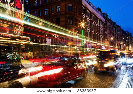 Shaftesbury Avenue In London, Uk, At Night