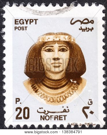 MOSCOW RUSSIA - JANUARY 2016: a post stamp printed in EGYPT shows noblewoman and princess Nofret the series