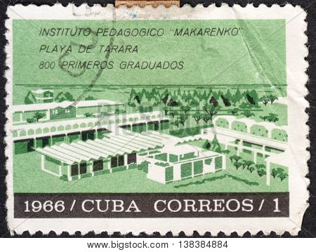 MOSCOW RUSSIA - CIRCA JANUARY 2016: a post stamp printed in CUBA shows the building of the Makarenko Pedagogical University the series