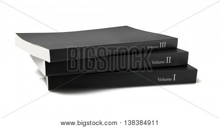 Stack of Three Black Cover Books on white Background