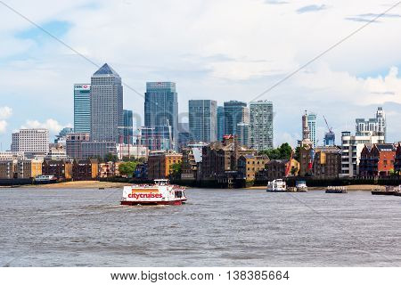 Canary Wharf In London Viewed Over The Thames