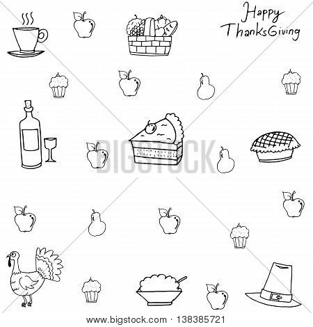 Doodle of Thanksgiving with hand draw for kids