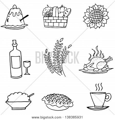 Doodle set food party Thanksgiving vector art