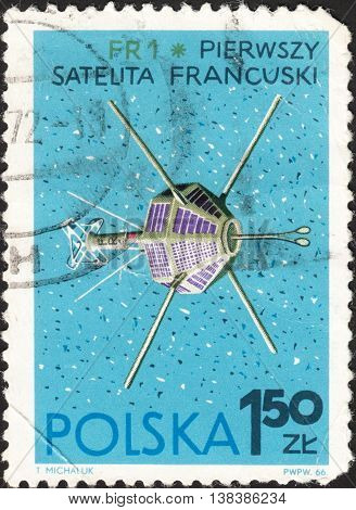 MOSCOW RUSSIA - DECEMBER 2015: a post stamp printed in POLAND shows FR 1 French Satellite the series
