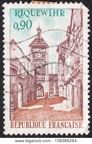 MOSCOW RUSSIA - CIRCA JANUARY 2016: a post stamp printed in FRANCE shows a view of Dolder Tower Riquewihr the series